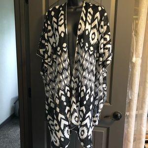 Apt. 9 Sheer Black & White Open Front Kimono